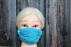 Mund- und Nasenmaske mit Einlagefach,  hellblau, individuell anpassbar, waschbar, mehrfach verwendbar