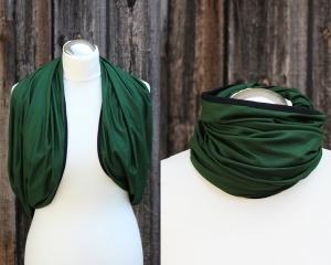 Schal der vielen Möglichkeiten No. 3 kontrastfarbig eingefasst in grün mit schwarz - Handarbeit kaufen