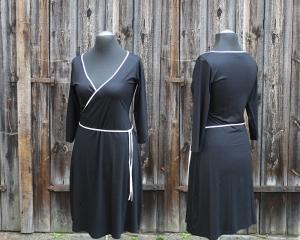 Wickelstylekleid mit Dreiviertelarm  Gr. 40 (passt auch 38) schwarz mit creme - Handarbeit kaufen