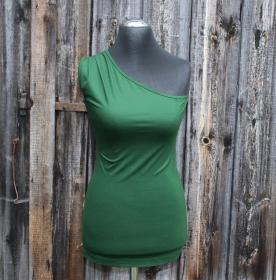 One-Shoulder-Top mit Falten in der Schulternaht aus Viskose-Jersey Made in Germany