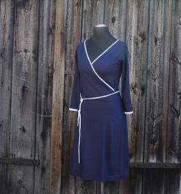 Wickelstylekleid mit Dreiviertelarm  Gr. 38 in dunkelblau mit weiß - Handarbeit kaufen