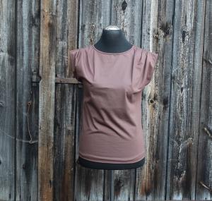 Top mit Falten in der Schulternhaht Größe 38 braun in Deutschland hergestellt aus Baumwolljersey - Handarbeit kaufen
