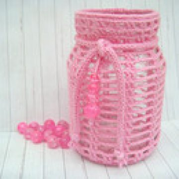 Windlicht, Teelicht, Laterne, rosa / pink, Vintage, Shabby-Look, gehäkelt