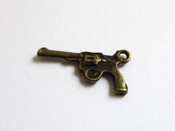 Anhänger Revolver, Pistole, Colt bronzefarben