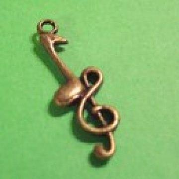 Anhänger Note mit Schlüssel bronzefarben