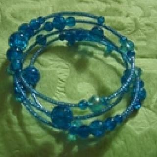 Armreif, Spiralarmband petrol-blau