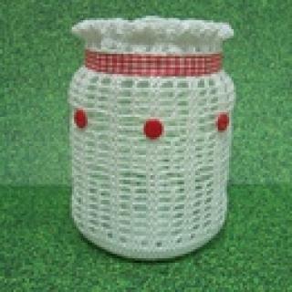 Windlicht, Teelicht, Laterne, weiß-rot, Vintage, Shabby-Look, gehäkelt - Handarbeit kaufen