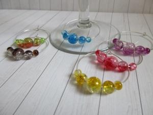 6 Weinglasringe/Sektglasringe/Glasmarker versilbert - Handarbeit kaufen