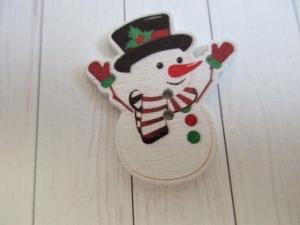Holzknopf, Motivknopf, Weihnachten, Schneemann, Winter