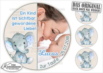 ♥ Tortenaufleger Tortenbilder Geburt Taufe Geburtstag (Fondantpapier)
