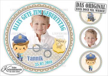 ♥ Tortenaufleger Tortenbilder Polizei Polizist Geburtstag (Dekorpapier PLUS)