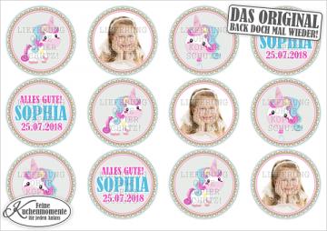 ♥ Muffinaufleger Cupcakes Tortenaufleger Einhorn Geburtstag (Dekorpapier PLUS)