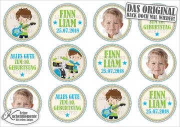 ♥ Muffinaufleger Cupcakes Tortenaufleger Rockstar Musik Sänger Geburtstag (Fondantpapier)