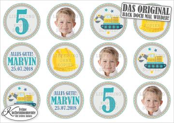 ♥ Muffinaufleger Cupcakes Tortenaufleger Bagger Bauarbeiter Geburtstag (Dekorpapier PLUS)