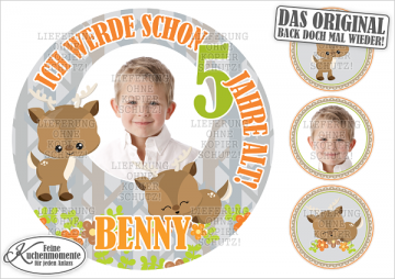 ♥ Tortenaufleger Tortenbilder Rehe Fuchs Füchse Geburtstag (Dekorpapier PLUS)