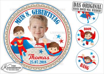 ♥ Tortenaufleger Tortenbilder Geburtstag / Superhelden für Jungen (Dekorpapier PLUS)