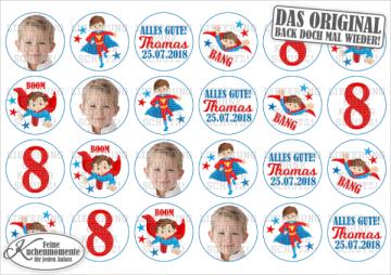 ♥ 24x Muffinaufleger Cupcake-Aufleger Tortenaufleger Geburtstag / Superhelden für Jungen (Dekorpapier PLUS)