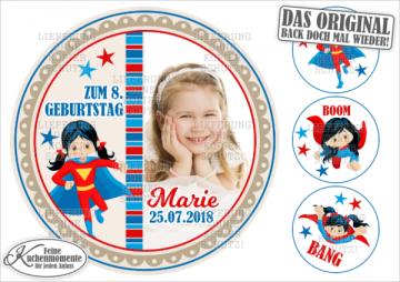 ♥ Tortenaufleger Tortenbilder Geburtstag / Superhelden für Mädchen (Dekorpapier PLUS)