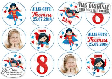 ♥ 12x Muffinaufleger Cupcake-Aufleger Tortenaufleger Geburtstag / Superhelden für Mädchen (Dekorpapier PLUS)