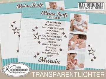 ♥ 2x Transparentlichter (+1 GRATIS) Windlicht Windlichthüllen Lichthüllen Geburt Taufe Geburtstag
