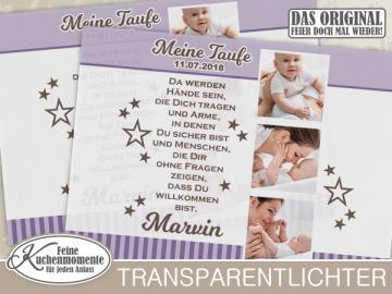 ♥ 10x Transparentlichter (+2 GRATIS) Windlicht Windlichthüllen Lichthüllen Geburt Taufe Geburtstag