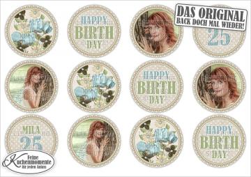 ♥ 12x Muffinaufleger Cupcake-Aufleger Tortenaufleger Geburtstag Blumen (Fondantpapier)