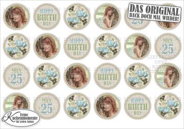♥ 24x Muffinaufleger Cupcake-Aufleger Tortenaufleger Geburtstag Blumen (Fondantpapier)