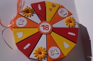 Geldgeschenk, Geschenkverpackung  aus 300g Tonpapier  zum 18. Geburtstag , 72 Tolle Torte zum Geburtstag