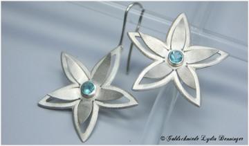 Seerosen Ohrhänger 925 Silber mit Aquamarin Sägearbeit Handarbeit aus eigener Werkstatt