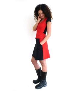Kleid mit Taschen, kurzarm, rot und schwarz