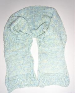 Schal gestrickt in hellblau-pastellgelb mit Perlmuster und Herz 160 cm handgestrickt