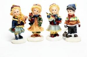 4 Winterkinder im Set aus Steinharz 6,5 cm Deko und Basteln