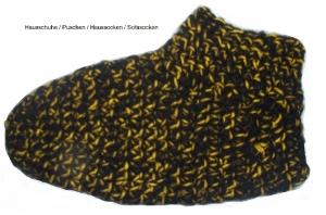 Sofasocken  Gr . 39-40  Hausschuhe Puschen gehäkelt schwarz-gelb Damen Herren Kinder