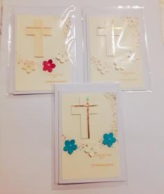 3 Einladungskarte zur Kommunion mit passendem weißen Kuvert- handmade