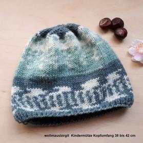 Kindermütze Strickmütze Mütze gestrickt KU 38 cm bis 42 cm  handgestrickt Norwegermuster