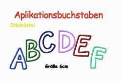 Stickdatei Applikationsbuchstaben 6 cm