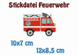 Stickdatei, Feuerwehr 12x8,5 cm + 10x7 cm zum besticken von Handtüchern, TShirts