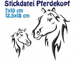 Stickdatei, Pferdekopf in 2 größen, 7x10 12x18 cm  zum besticken von Handtüchern, TShirts