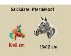 Stickdatei, Pferdekopf in 2 größen, 8x10 12x15 cm zum besticken von Handtüchern, TShirts