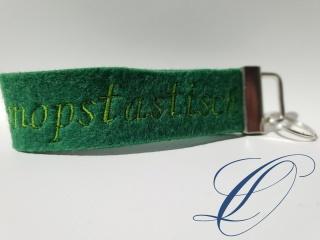 mopsiger Schlüsselanhänger Mopstastisch grün