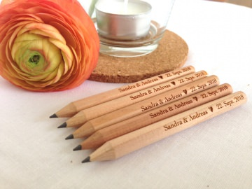 Gastgeschenk 25 Bleistifte MINI mit indiv. Gravur