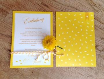 Hochzeitseinladung gelb