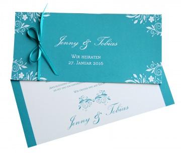 Hochzeitseinladung Türkis elegant