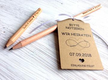 Gastgeschenk Hochzeit 50 gravierte Bleistifte mit Anhänger