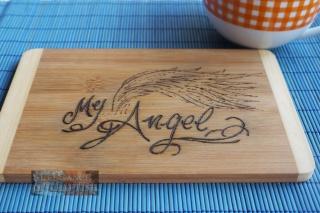 My Angel, Handzeichnung, Engel, Angel, Schneidebrett, Frühstück, Breakfast, Handarbeit, Pyrografie, Brandmalerei