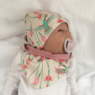 2teil. NeugeborenenSet * KOLIBRI * Halstuch u. Mütze für Mädchen