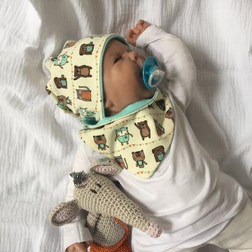 Neugeborenen Set * FREUNDE * mit Halstuch  u. Mützchen für Jungen und Mädchen