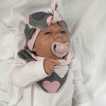 Neugeborenen Set *HERZILEIN* mit Halstuch  u. Stirnband für Mädchen - Handarbeit kaufen