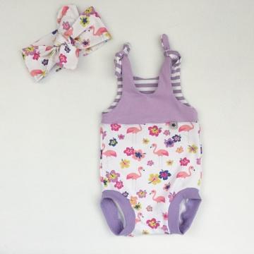 kurzer Baby Strampler Overall  **FLAMINGO**  vom zimtbienchen