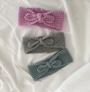Baby Stirnband Kinder Stirnband gestrickt mit Schleife mehrere Größen u. Farben  - Handarbeit kaufen
